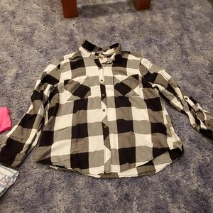Big black and white plaid shirt